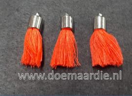 Kwastjes met zilverkleurig kapje oranje roze, per 10.