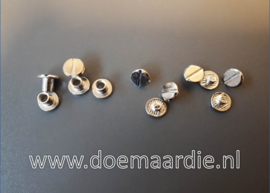 Boekschroef per 10, silver 10 mm. (double) lang
