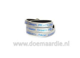 Wikkelarmband, dream, peace, amour, hope zilverkleurig.