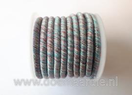 Metalic cord, groen, licht blauw, 5 meter