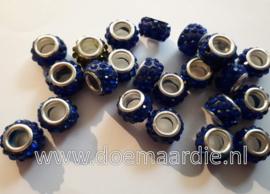 Grootgat kraal, strass, polymeer, blauw.