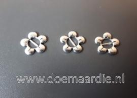 Schuifkraal bloem oud zilver, per 10.