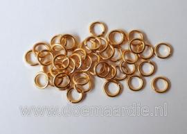 Montage ringetje, goud. binnenmaat 3,5 mm (+/- 145 stuks).