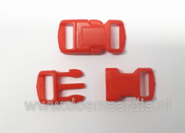 Buckle , klikgesp, small, rood, doorvoer 10 mm.