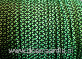 Paracord 225, neon green black diamond, vanaf 29 cent per meter.