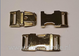 Buckle gold metal, klikgesp, 25 mm doorvoer.  200 kilo breekkracht.