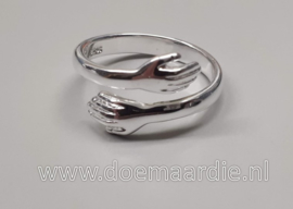 Ring, omarming, knuffel, echt zilver