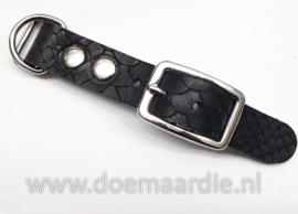 Adapter 20 mm, Buffel leer, motief zwart