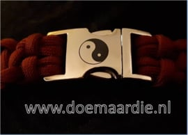 Buckle silver metal, Yin Yang. doorvoer 16 mm. (5/8)