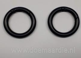 Ring met beweegbare opening, zwart, 26 mm binnen