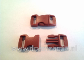 Buckle mini, klikgesp,  bruin, doorvoer 11 mm.