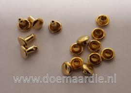 Holniet, goud, 8 mm, schacht 8 bij 3 mm. Per 100 paar.
