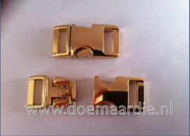 Buckle light gold metal, klikgesp, mini.  (3/8)