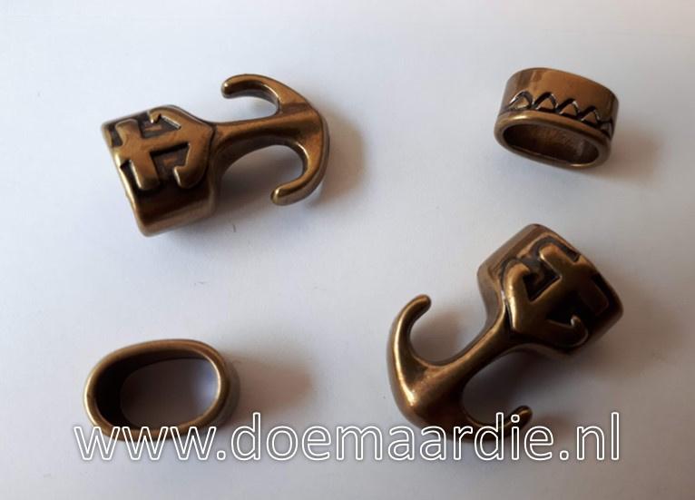 Anker sluiting, setje, oud brons kleur.