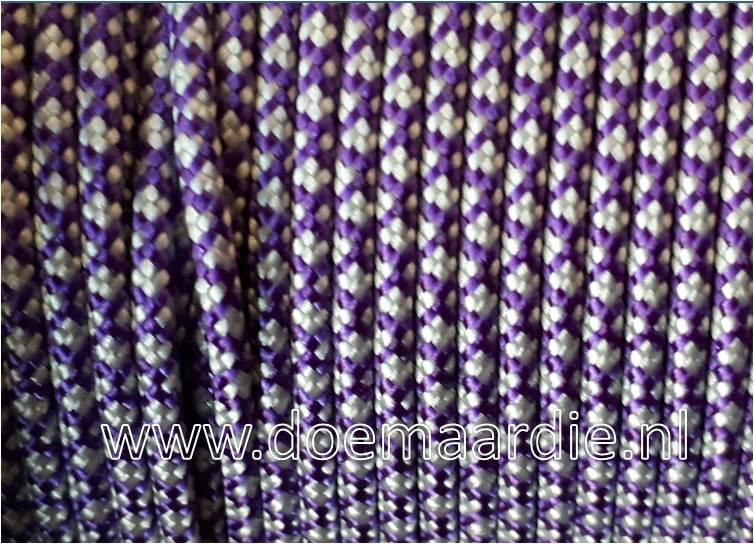 Paracord bundel 550 acid purple silver, 6 / 15  / 30 meter.