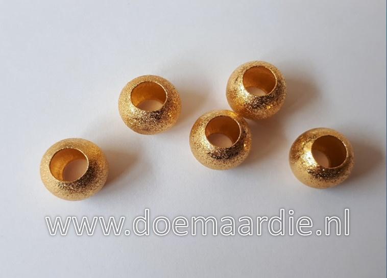 Brass kralen, goud per 10.