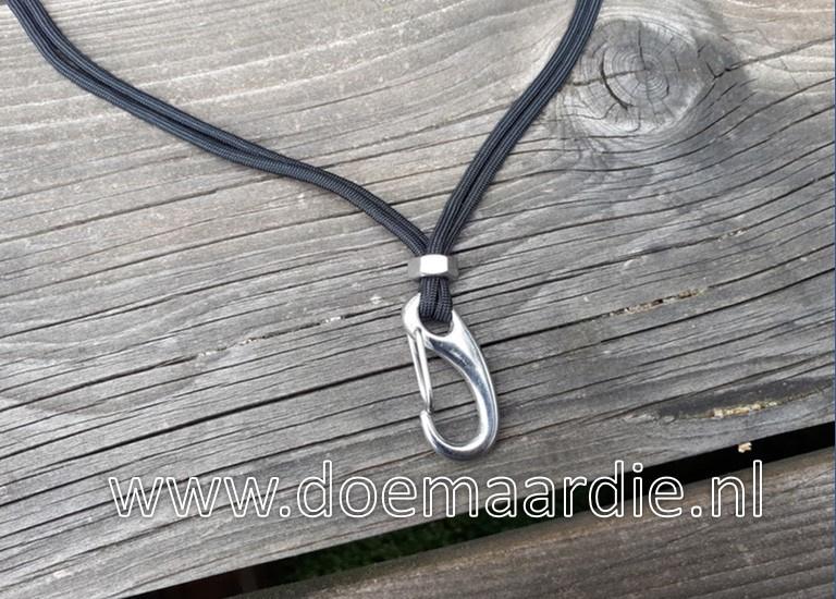 Keycord robuust, zwart met RVS. 45 cm