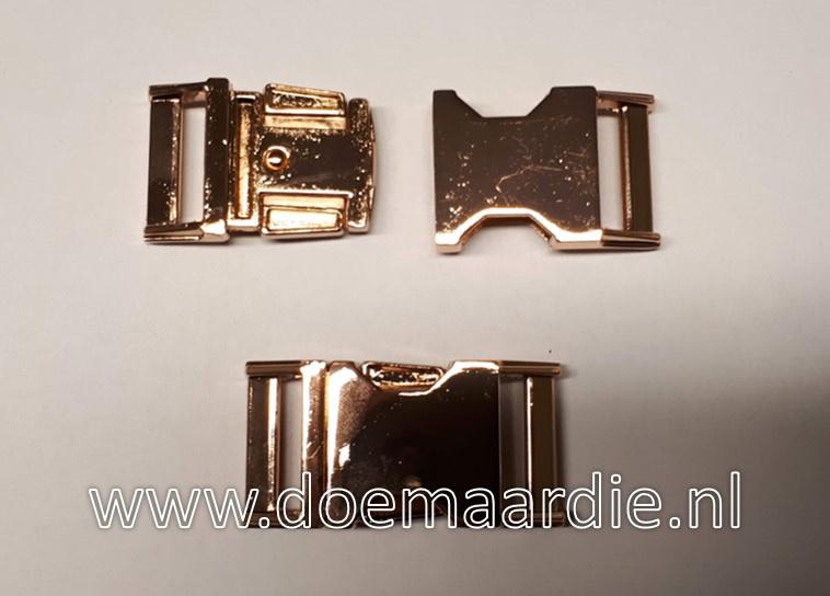 Buckle rose gold metal, klikgesp, 25 mm doorvoer.  200 kilo breekkracht.