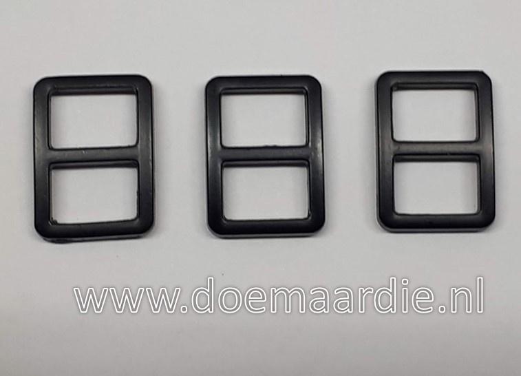 Schuifgesp, black 10 mm, verticaal.