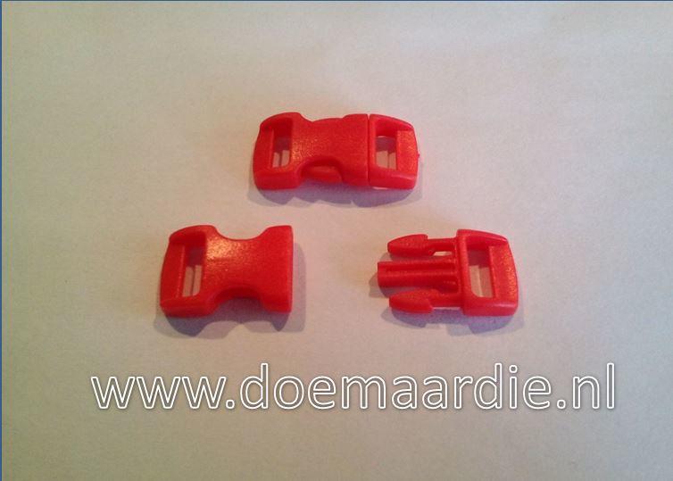 Buckle mini, klikgesp, rood, doorvoer 11 mm