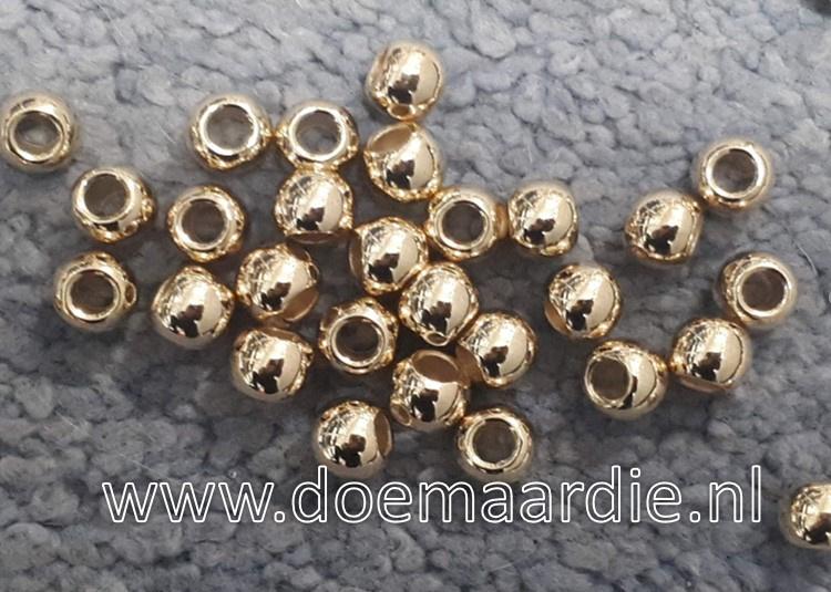 Kraal goud/rose, 8 x 6 gat 4 mm per 10 of per 100