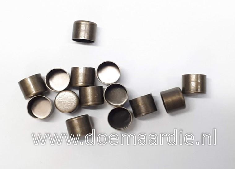 Metalen koord eind. Antiek Messing, 8 mm.