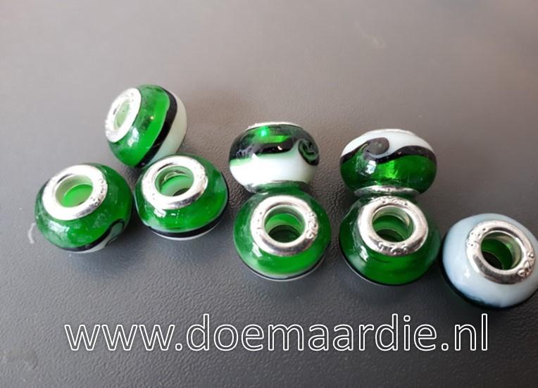 Murano glaskraal, groen wit.