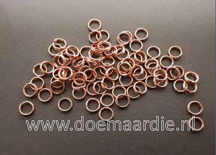 Split ringetje, dubbele ringetje, rose goud. binnen 3,9 mm. (ong.70)