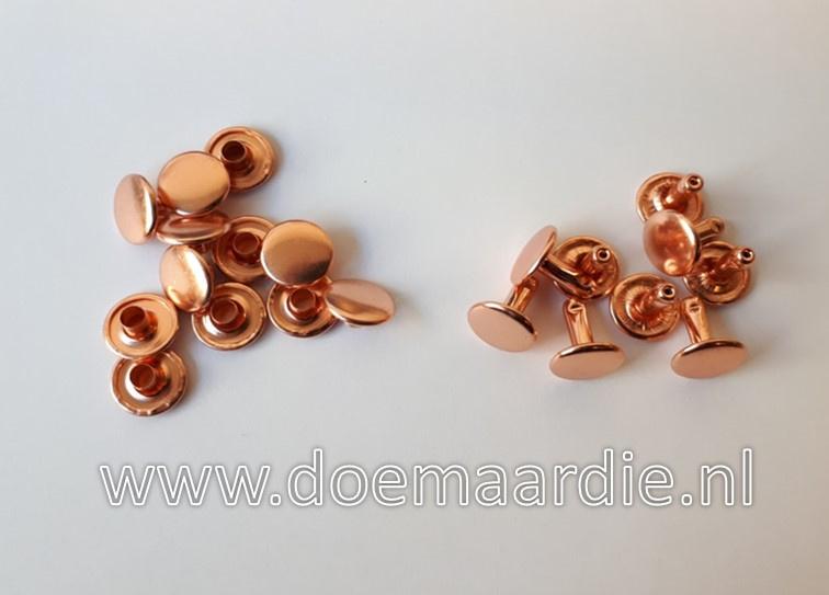 Holniet, rose goud, 10 mm bij 10. Per10 of 100 paar.