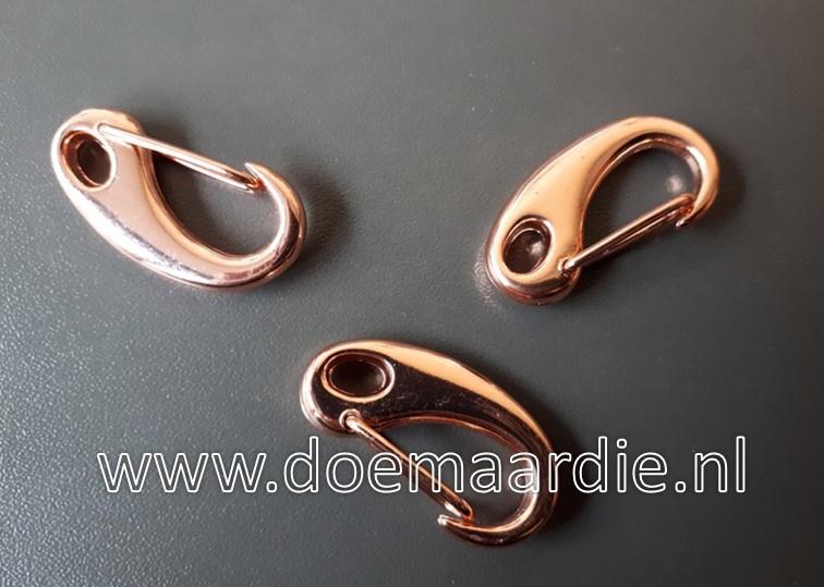 Metalen clipsluiting- musketonhaak, rose gold, 32 mm.
