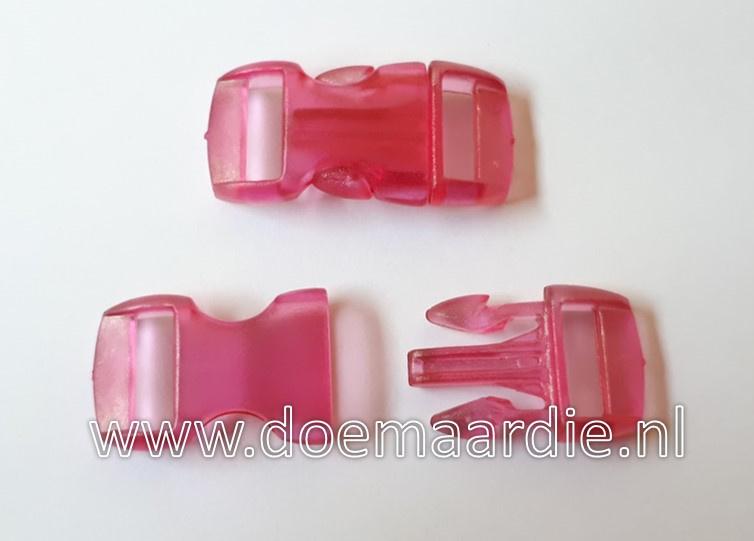 Buckle transparant,mini, klikgesp, donker roze fuchsia, doorvoer 11 mm.