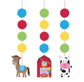 Boerderij dieren hangdecoratie (3 stuks)