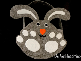 Vilten cadeautasje konijn grijs