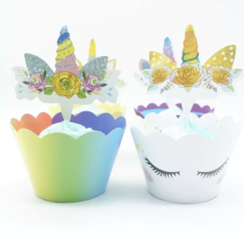 Unicorn - 12 cupcake wikkels en prikkers