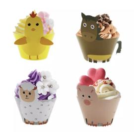 Boerderij - 12 cupcake wikkels (optie 2)