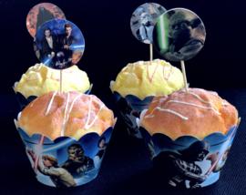 Star Wars - 12 cupcake wikkels en prikkers