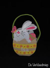 Vilten cadeautasje konijn met naam