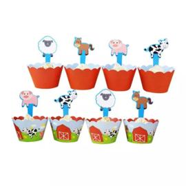 Boerderij - 12 cupcake wikkels en prikkers