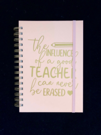 Notitieboekje A5 roze/ goud - the influence of a good teacher