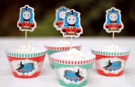 Thomas de Trein - 12 Cupcake wikkels en prikkers
