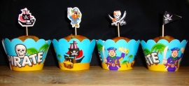 Piraten - 10 cupcake wikkels en prikkers