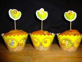 Jungle dieren - 12 cupcake wikkels en prikkers