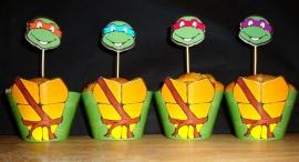 Turtles - 10 cupcake wikkels en prikkers