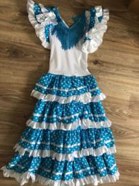 Spaanse jurk blauw met wit - 12 jaar