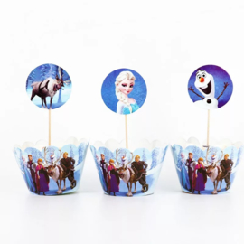 Frozen  - 12 cupcake wikkels en prikkers