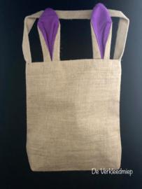 Jute tas met konijnenoren (groen, blauw, oranje en paars)
