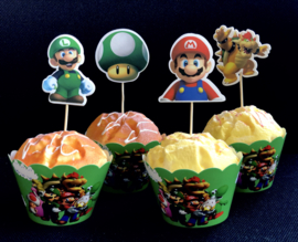 Super Mario - 12 cupcake wikkels en prikkers