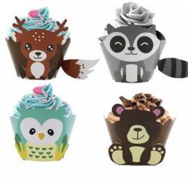 Bosdieren- 12 cupcake wikkels