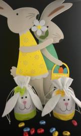 Cadeautasje konijn met lange oren (bedrukt of onbedrukt)