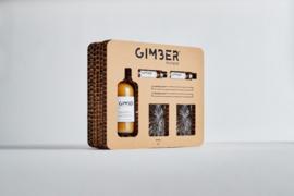 Gimber GIFTBOX  500 ml fles + 2 shots   + 2 rietjes + 2 glazen